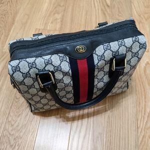"Vintage Gucci Bag Navy ""GG"" Monogram Boston Bag"